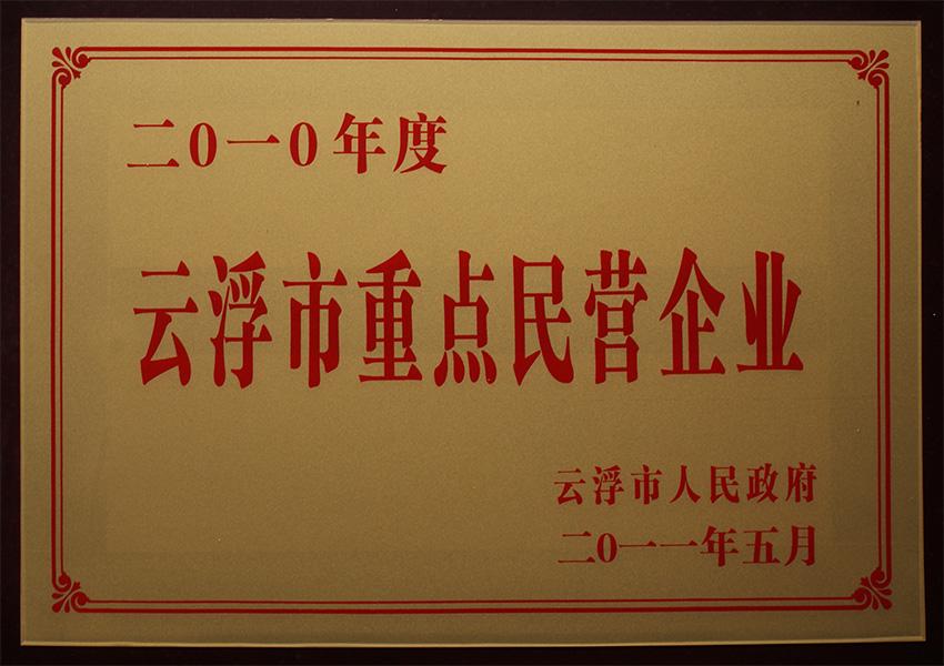 2011年云浮市重点民营企业